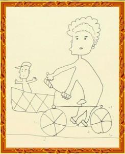 『子どもを自転車に乗せて買い物する奥さん』 by 陣内