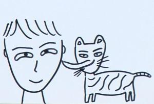 『飼い主をなめるネコ』 by 徳井 義実